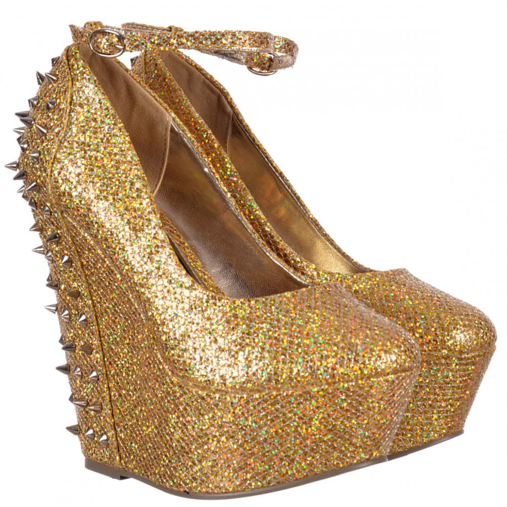 eda6d2c546bb Sparkly Gold Glitter Wedge Platform Shoes Ankle Strap Studs  amp  Spikes -  Gold