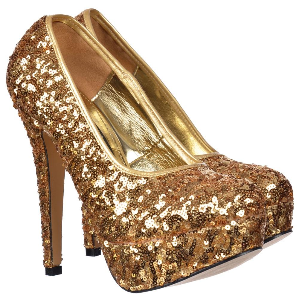 Onlineshoe Sparkly Gold Sequin High Heel Platform Stiletto Shoes ...