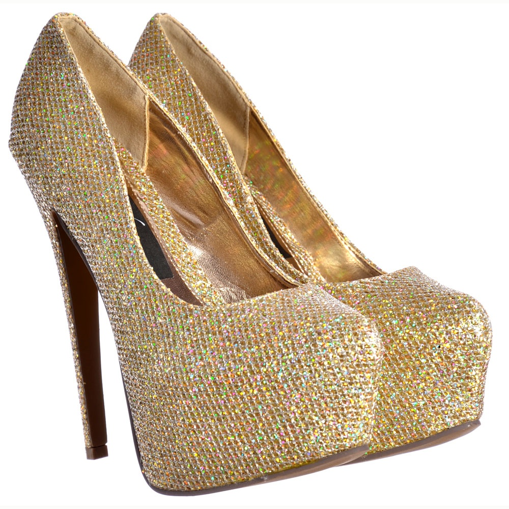 33aa69377fe9 Sparkly Gold Shimmer Glitter High Heel Stiletto Concealed Platform Shoes -  Gold