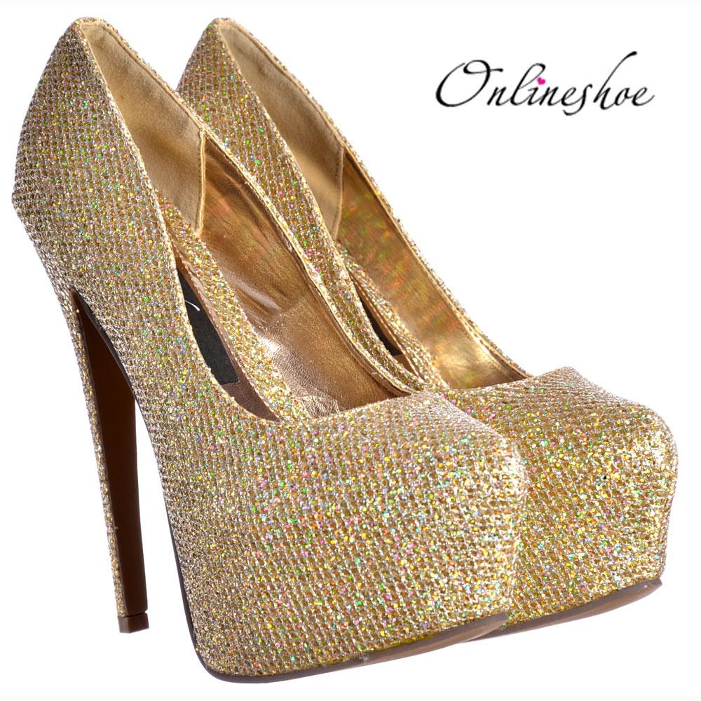 Onlineshoe Sparkly Gold Shimmer Glitter High Heel Stiletto ...