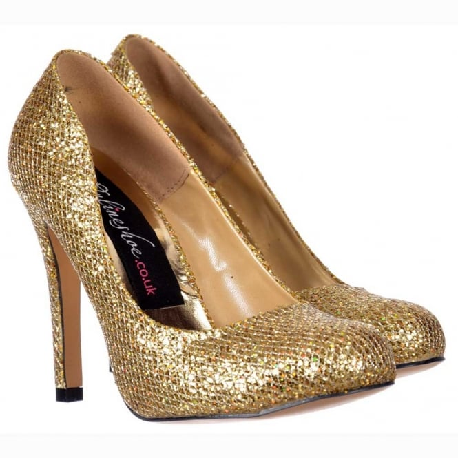 Onlineshoe Sparkly Gold Shimmer Glitter - Sequined Mesh - Stiletto Court Shoe - Gold