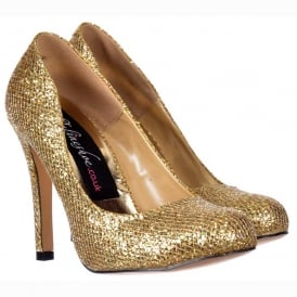 Sparkly Gold Shimmer Glitter - Sequined Mesh - Stiletto Court Shoe - Gold