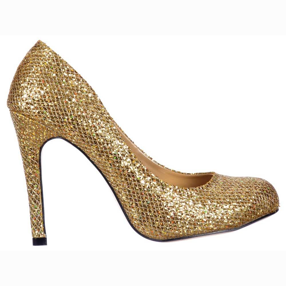 Onlineshoe Sparkly Gold Shimmer Glitter - Sequined Mesh - Stiletto ...