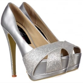 Sparkly Metallic Silver Glitter Peep Toe Stiletto - Glitter Crossed Toe - Silver Glitter