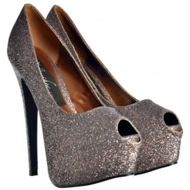 Sparkly Multi Glitter Peep Toe Stiletto Concealed Platform High Heel Shoes - Multi Glitter