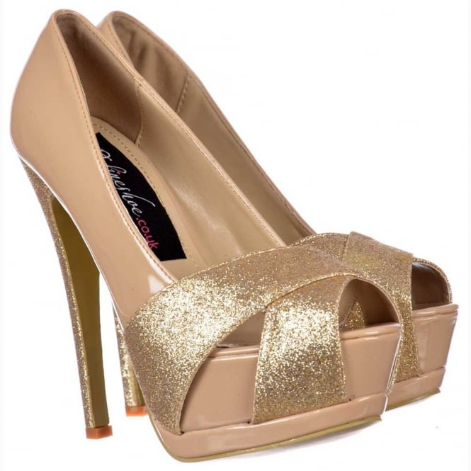 Onlineshoe Sparkly Nude Gold Glitter Peep Toe Stiletto - Glitter Crossed Toe - Nude Gold Glitter