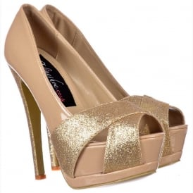 Sparkly Nude Gold Glitter Peep Toe Stiletto - Glitter Crossed Toe - Nude Gold Glitter