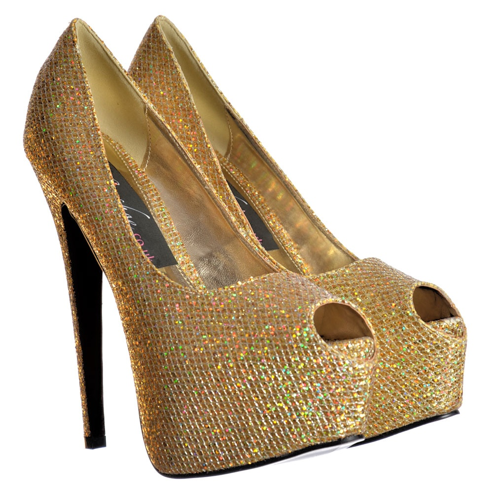 gold peep toe platform heels uk