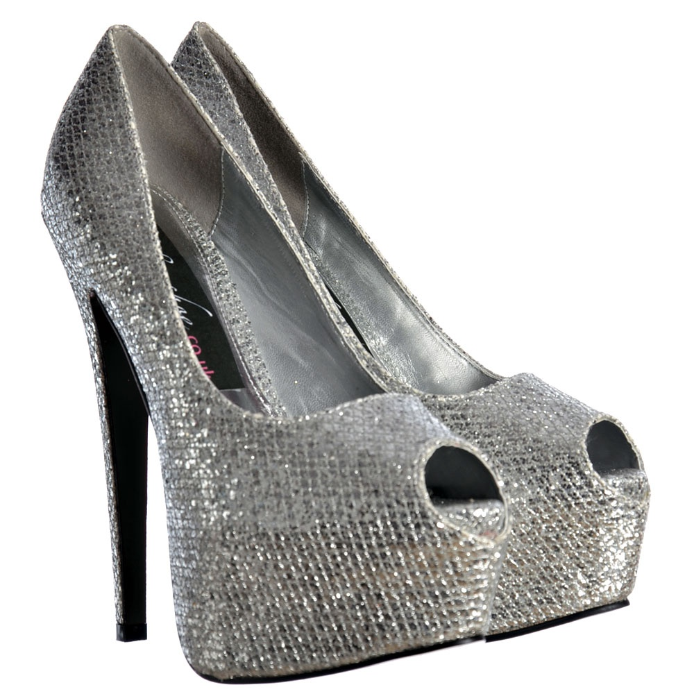 Onlineshoe Sparkly Shimmer Glitter Peep Toe Stiletto Concealed ...