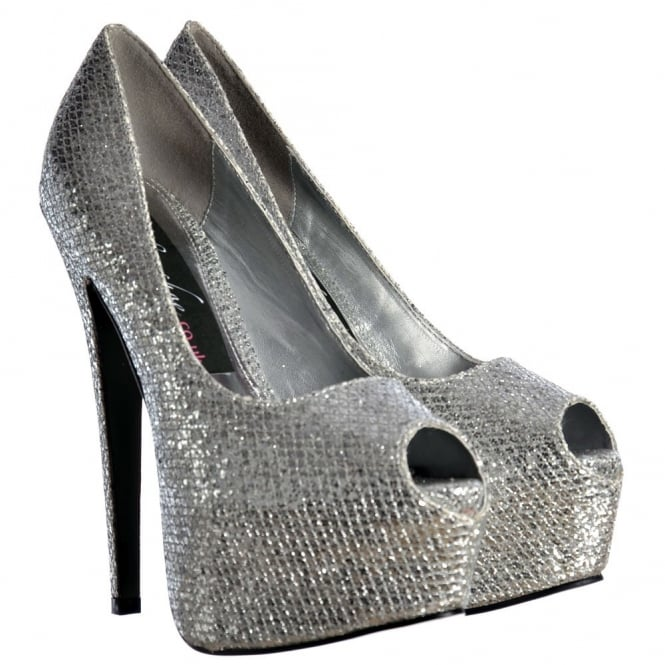 Onlineshoe Sparkly Shimmer Glitter Peep Toe Stiletto Concealed Platform High Heel Shoes - Silver