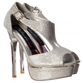 Sparkly Shimmer High Heel Peep Toe Party Shoe - Gold or Silver Heel - Silver, Gold