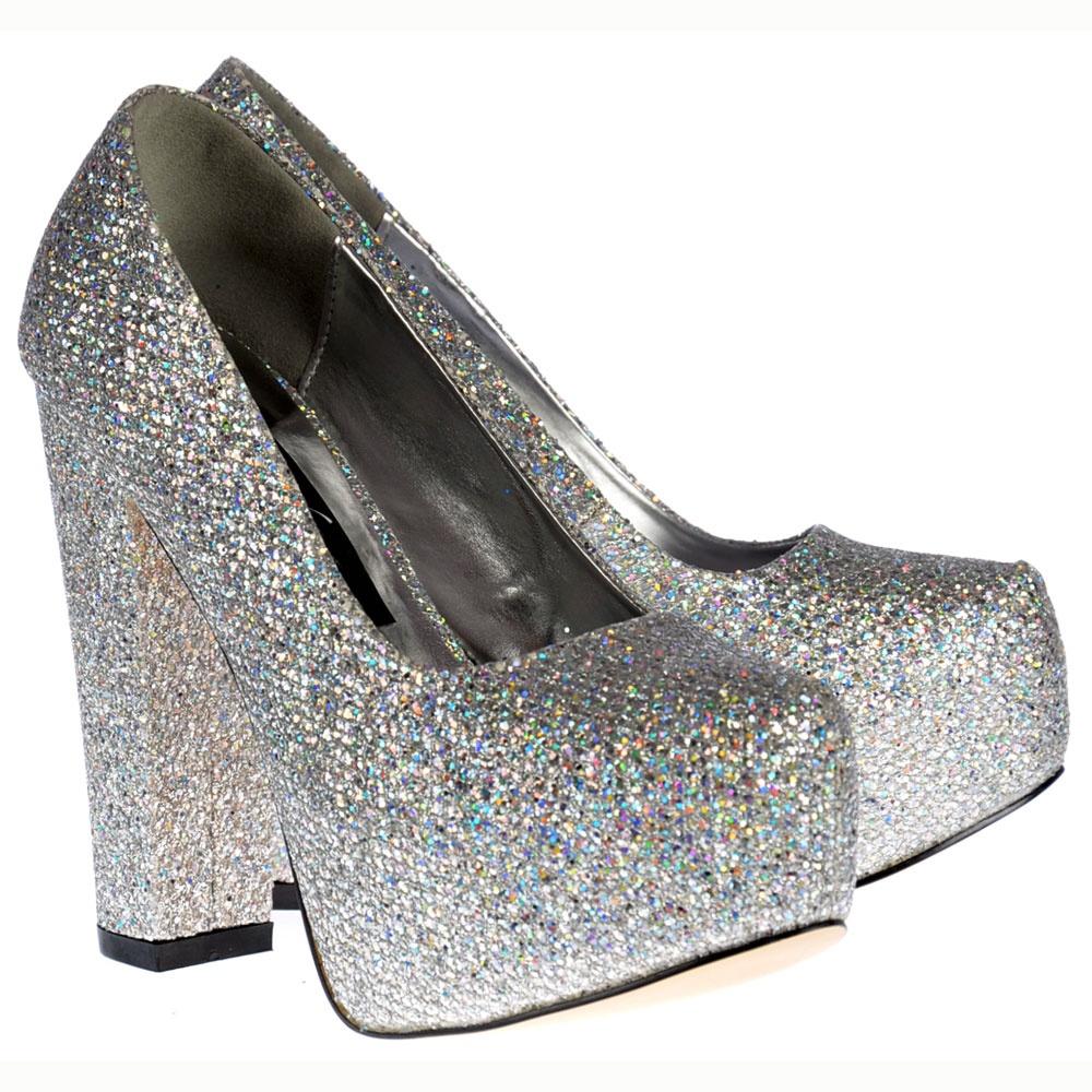 ea5e5a325ad47 Sparkly Silver Block Heel Concealed Platform Shoes - Silver Shimmer Glitter