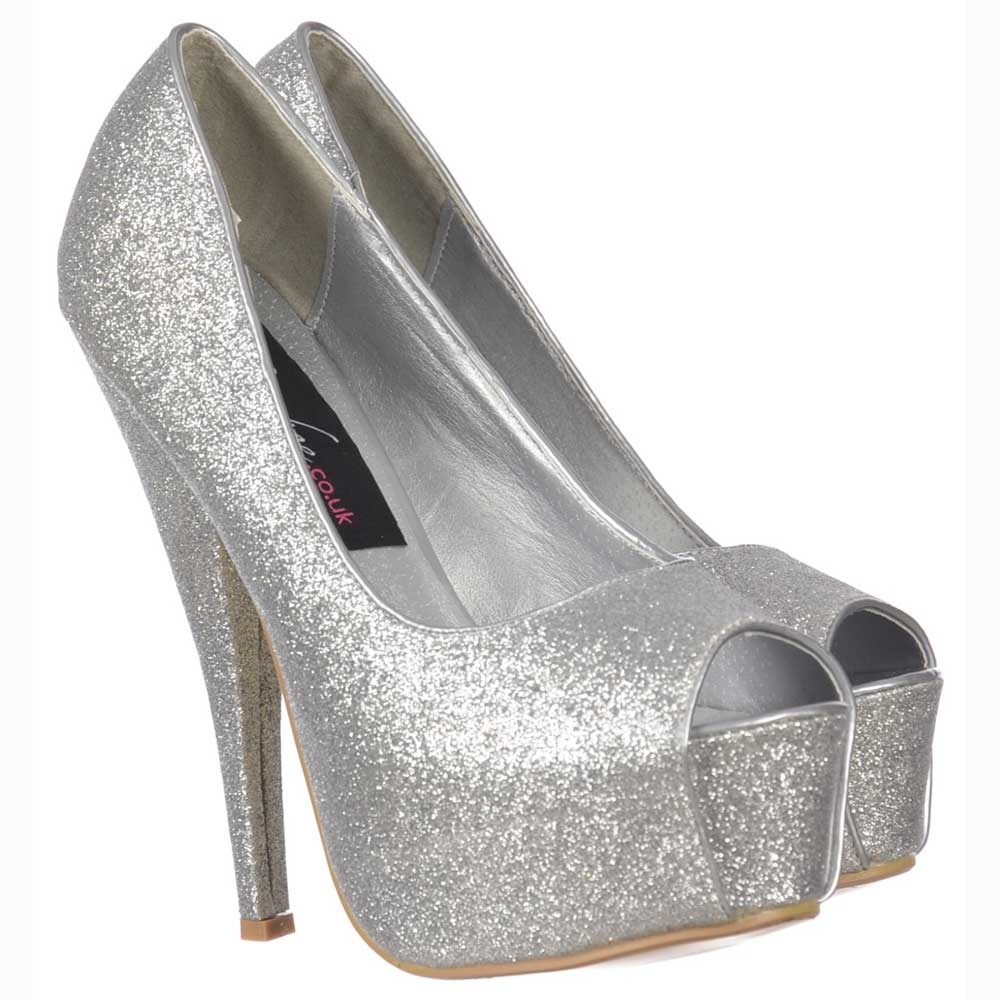 Onlineshoe Sparkly Silver Glitter Peep Toe Stiletto Concealed ...