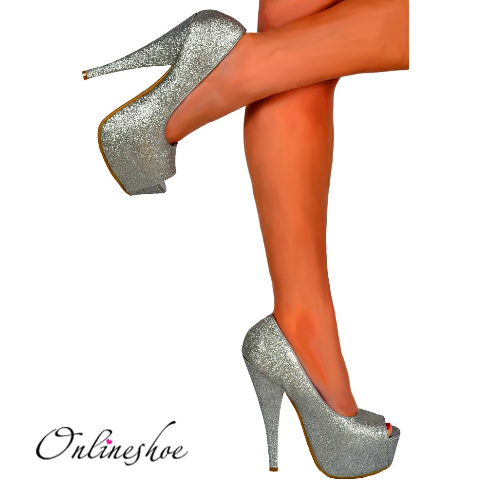 2c8e444211 Sparkly Silver Glitter Peep Toe Stiletto Concealed Platform High Heel Shoes  - Silver