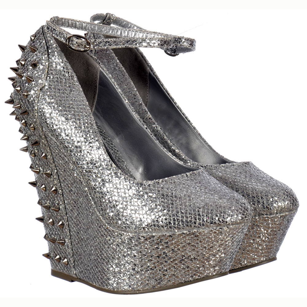 01b263ade7b Sparkly Silver Glitter Wedge Platform Shoes Ankle Strap Studs and Spikes -  Silver
