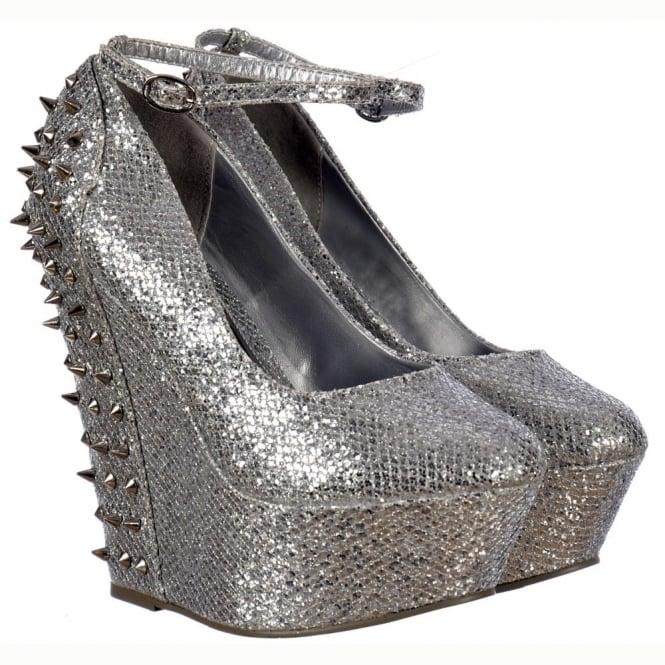 Onlineshoe Sparkly Silver Glitter Wedge Platform Shoes Ankle Strap Studs and Spikes - Silver