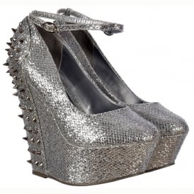 Sparkly Silver Glitter Wedge Platform Shoes Ankle Strap Studs and Spikes - Silver