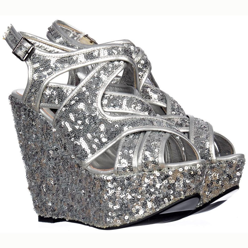 Onlineshoe Sparkly Silver Sequin