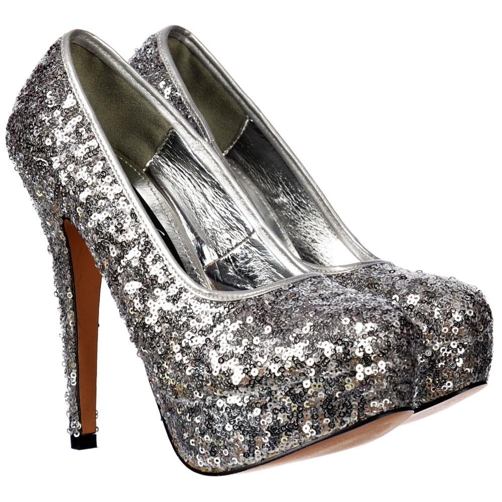c3a8668450d8 Onlineshoe Sparkly Silver Sequin High Heel Platform Stiletto Shoes ...