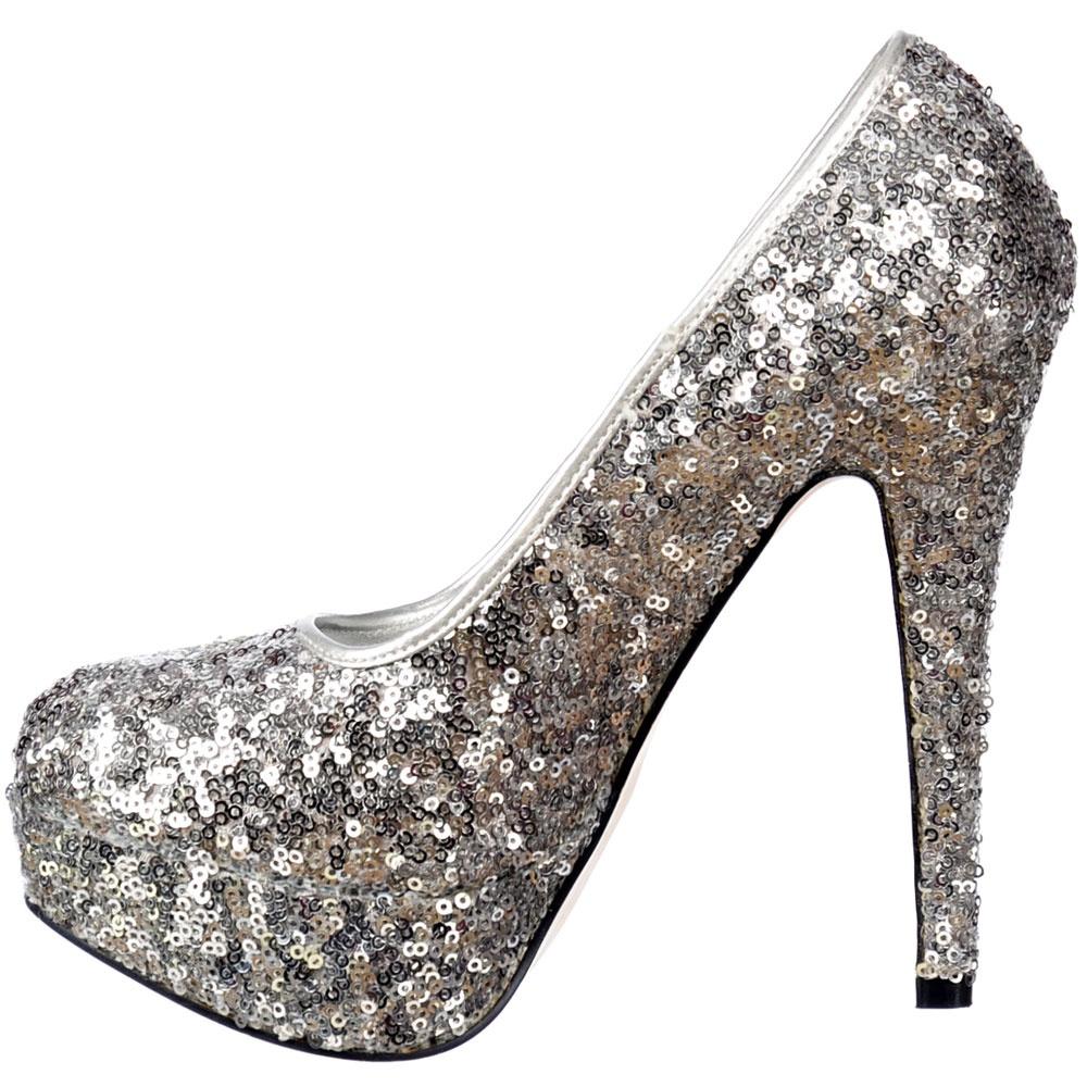 Onlineshoe Sparkly Silver Sequin High Heel Platform Stiletto Shoes ...