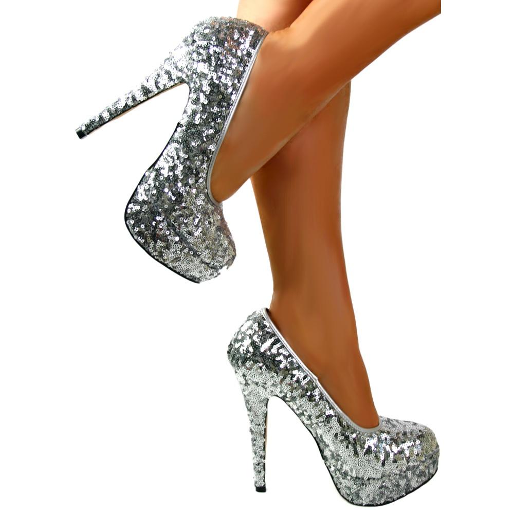 a8d53872602 Onlineshoe Sparkly Silver Sequin High Heel Platform Stiletto Shoes ...
