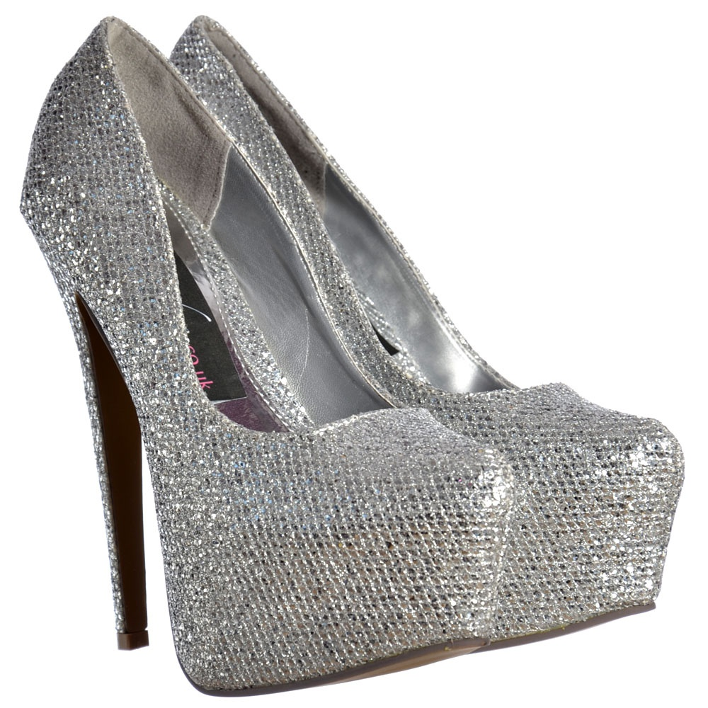 b3f89d83866 Sparkly Silver Shimmer Glitter High Heel Stiletto Concealed Platform Shoes  - Silver