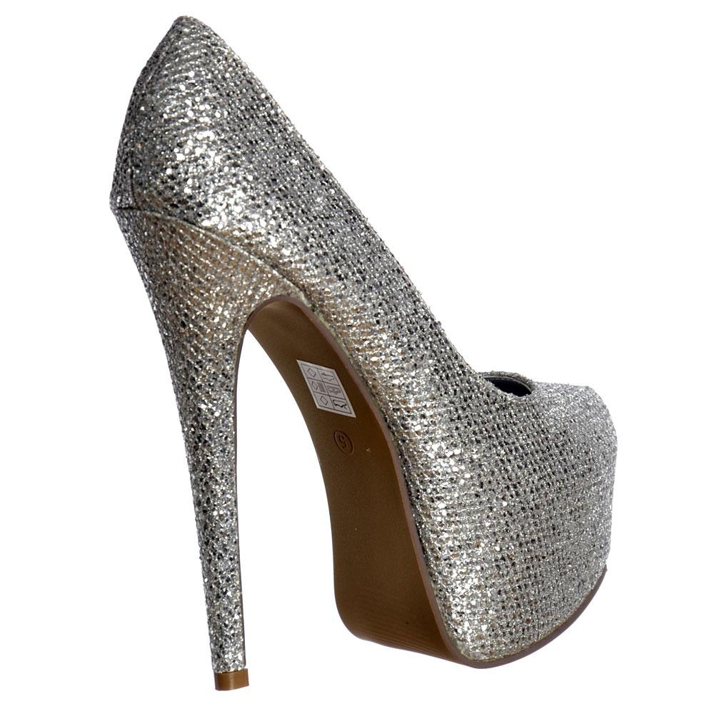 6a6c823412cdf3 Onlineshoe Sparkly Silver Shimmer Glitter High Heel Stiletto .