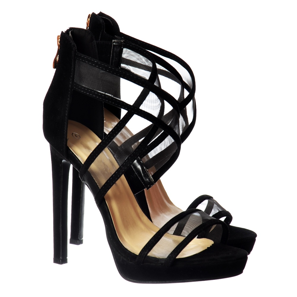 7a6fe4d6b47 Onlineshoe Strappy Cross Over High Heel Party Shoes - Black Suede ...