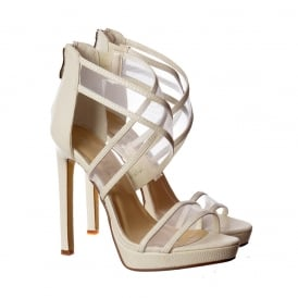 Strappy Cross Over High Heel Party Shoes - Black Suede, White Lizard