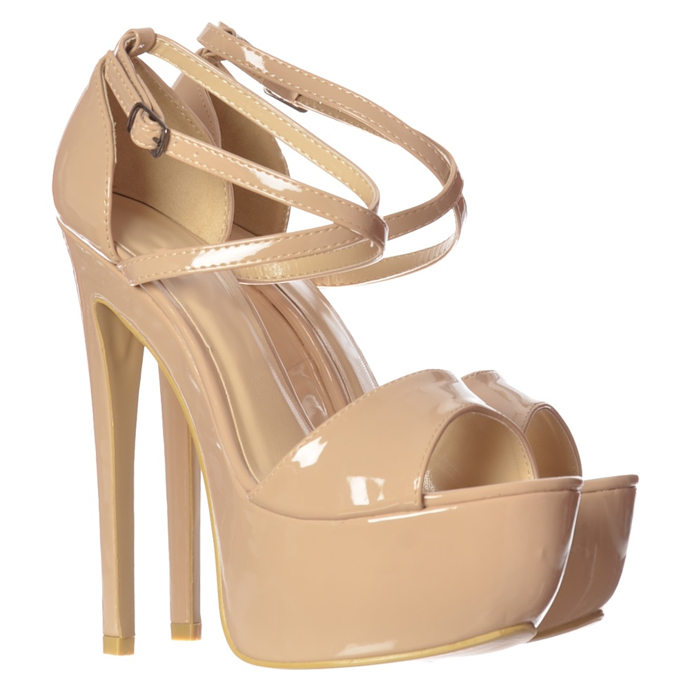 Onlineshoe Strappy Cross Over Pastel Stiletto Platform High Heel ...