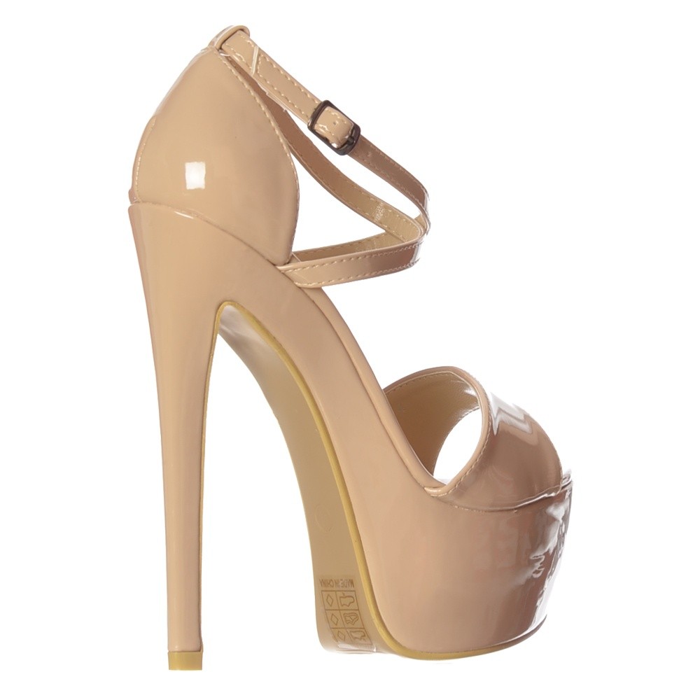a231f66ca15 Strappy Cross Over Pastel Stiletto Platform High Heel Party Shoes - Patent  Pink, White, Patent Yellow, Patent Nude