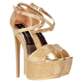 Strappy Cross Over Stiletto Platform High Heel Party Shoes - Black Suede, Red Suede, Gold Glitter, Silver Glitter