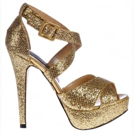 Strappy Sparkly Glitter Stiletto Platform High Heel Shoes - Gold