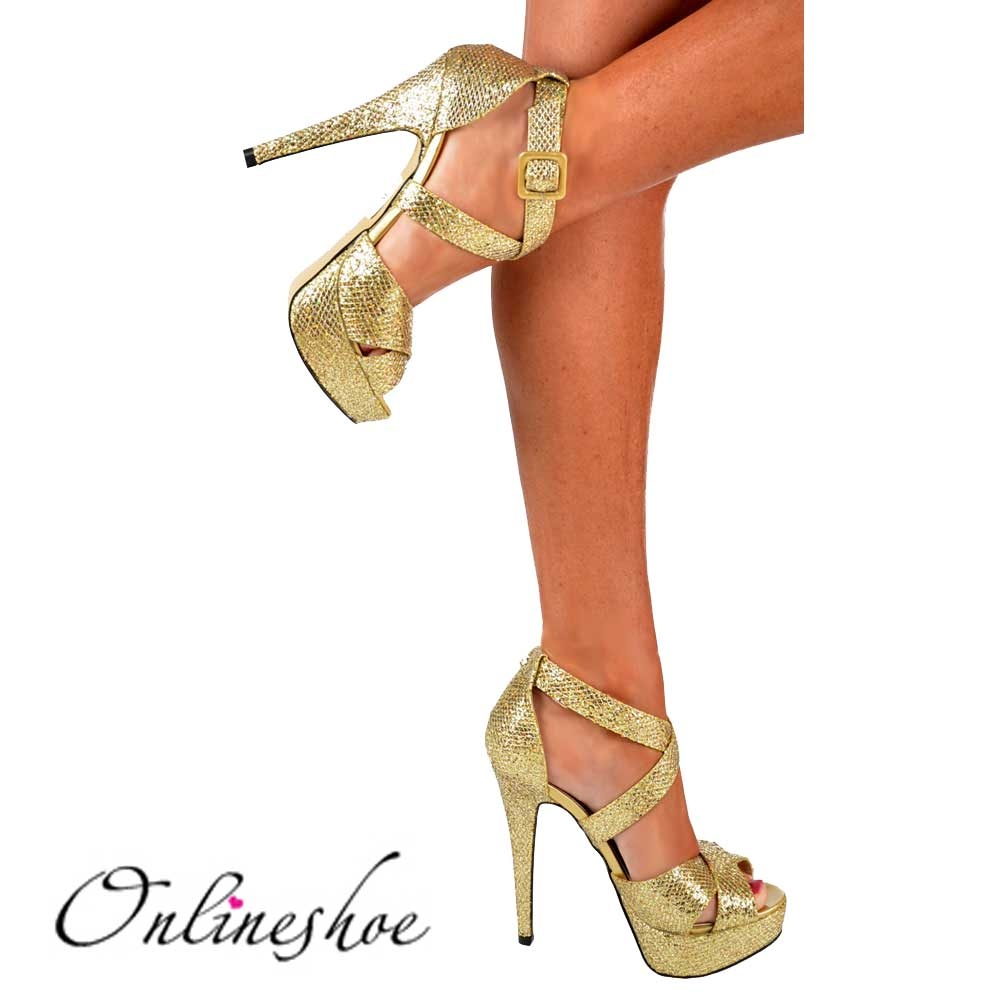 4d01abaaa0cb71 Onlineshoe Strappy Sparkly Glitter Stiletto Platform High Heel Shoes ...