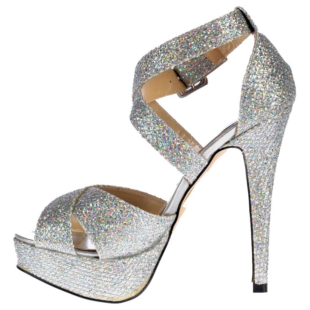 ff7fcef847b Onlineshoe Strappy Sparkly Glitter Stiletto Platform High Heel Shoes ...