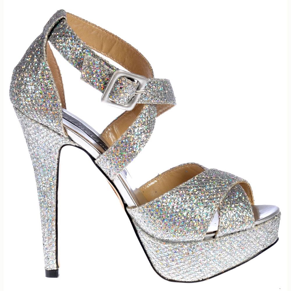 a2594ef4d7d Strappy Sparkly Glitter Stiletto Platform High Heel Shoes - Silver
