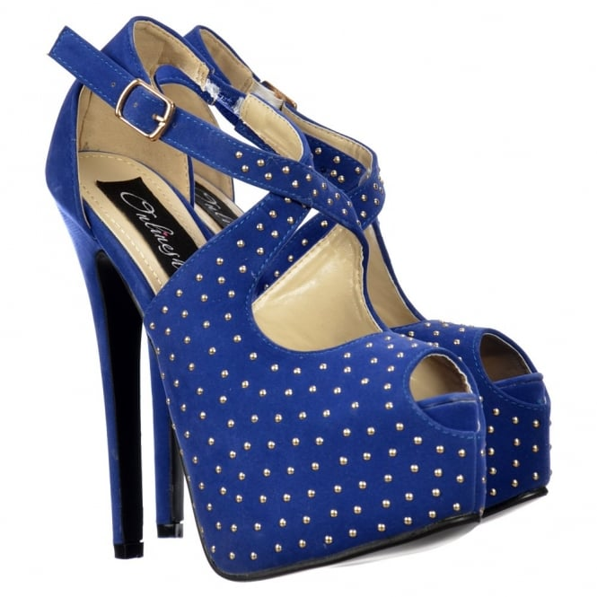 Onlineshoe Strappy Studded Stiletto Platform High Heel Shoes - Blue Suede