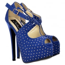 Strappy Studded Stiletto Platform High Heel Shoes - Blue Suede