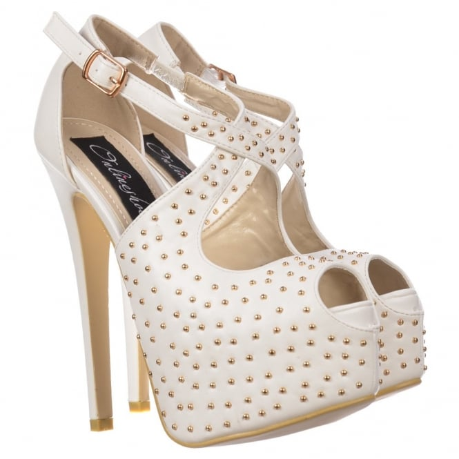 Onlineshoe Strappy Studded Stiletto Platform High Heel Shoes - White PU