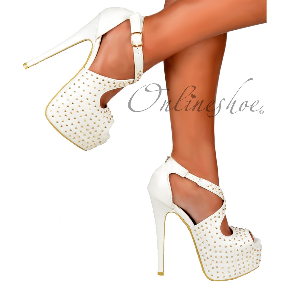 fe7e51a7178 Onlineshoe Strappy Studded Stiletto Platform High Heel Shoes - White ...