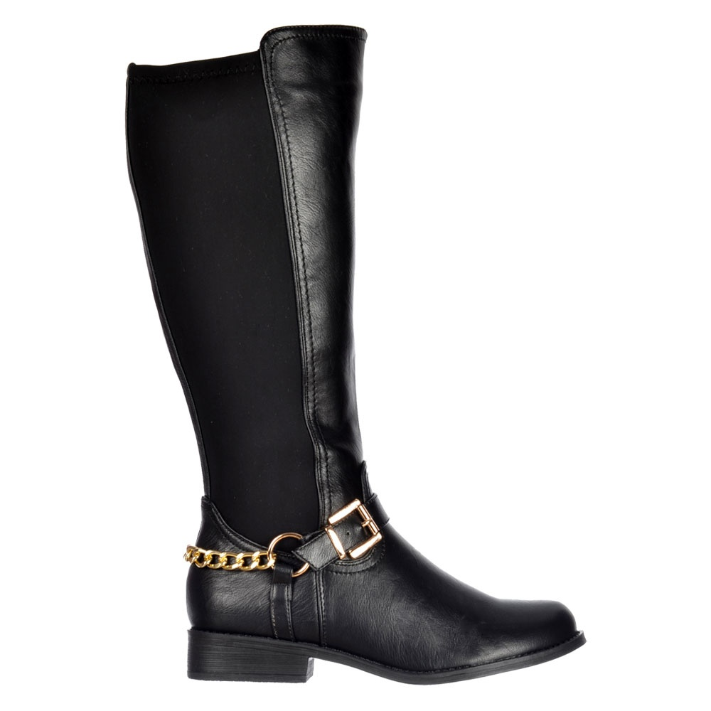 Onlineshoe Stretch Knee High Flat Riding Boot - Gold Buckle ...