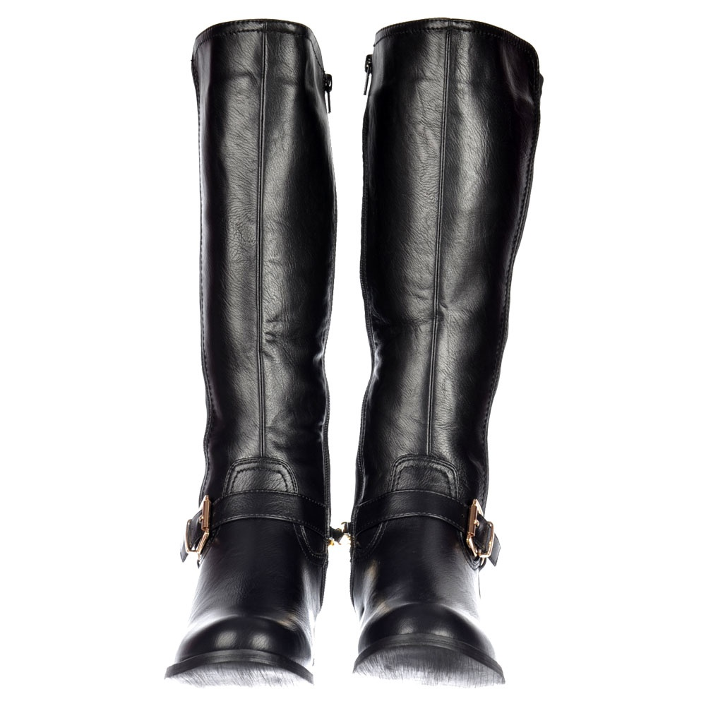 d2c2045e6ff Onlineshoe Stretch Knee High Flat Riding Boot - Gold Buckle - Black ...