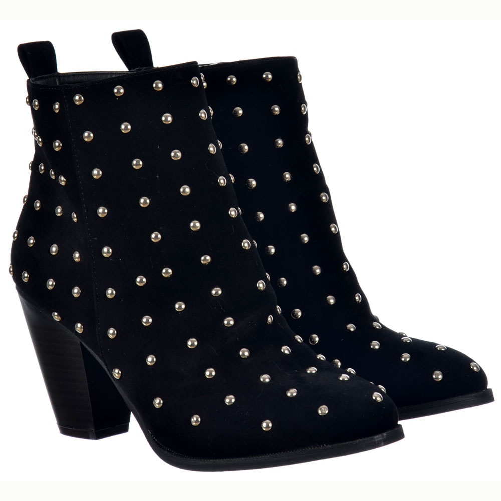 elegant and graceful special buy discount collection Onlineshoe Studded Block Heel Ankle Boots - Black Suede Studded