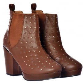 Studded Block Heel Chelsea Ankle Boots - Tan