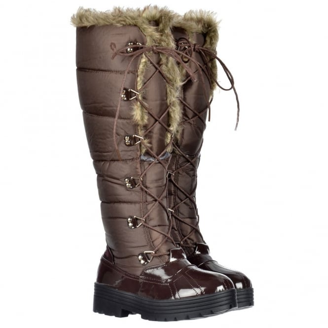 Onlineshoe Stylish Patent Quilted Knee High Snow Boot Fully Fur Lined - Lace Up - Black, Brown