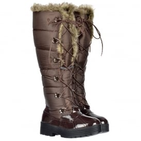 Stylish Patent Quilted Knee High Snow Boot Fully Fur Lined - Lace Up - Black, Brown