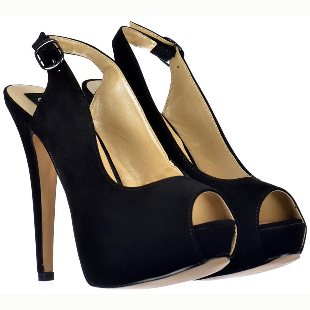 black slingback platform heels