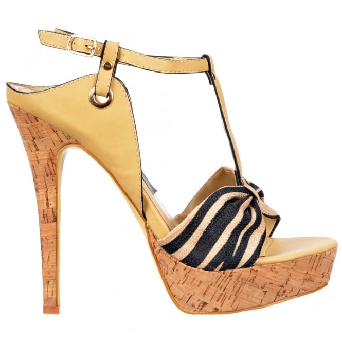 Onlineshoe T Bar Cork Platform Stiletto Sandal - Fabric Toe Detail - Beige