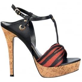 T Bar Cork Platform Stiletto Sandal - Fabric Toe Detail - Black