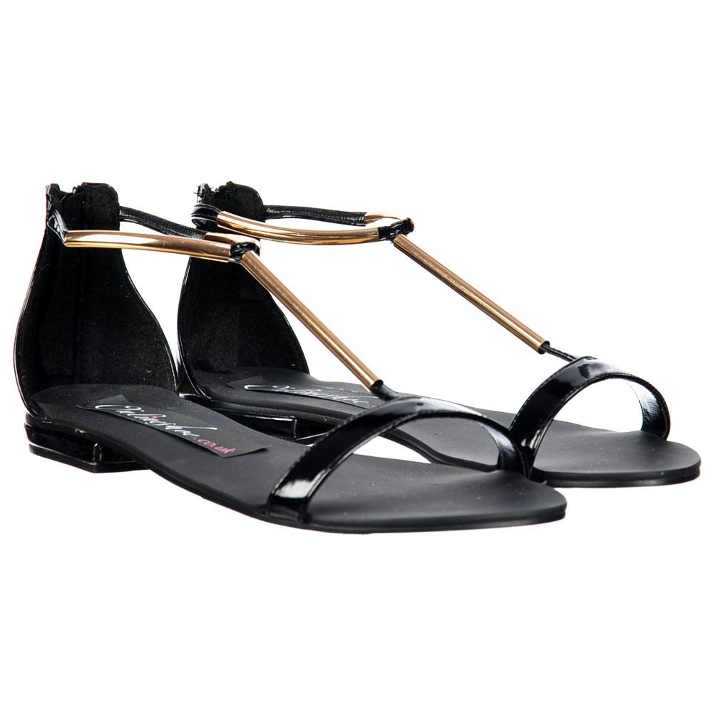 T Bar Gladiator Flat Sandal - Gold Chrome Bar - Black Patent - Onlineshoe T Bar Gladiator Flat Sandal - Gold Chrome Bar - Black